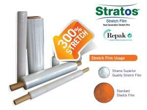 Rolls of Stratos Stretch Film up to 300% stretch in machine and hand application