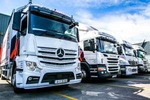 Trucks of an irish packaging company in Dublin