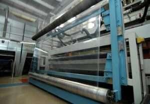 Stretch film machine at manufacturing facility.