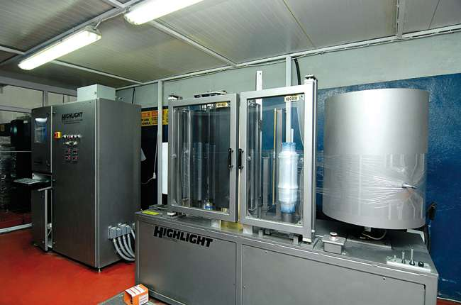 Stratos stretch film Quality Control Laboratory testing flexibility and strength for pallet wrap