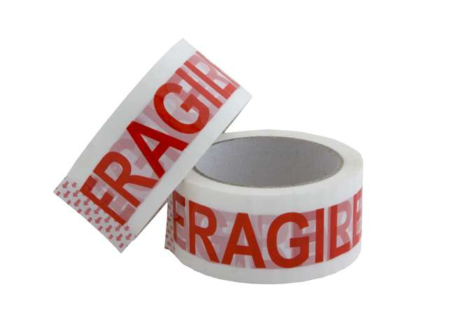 rolls of adhesive tape customized with Fragile written on it
