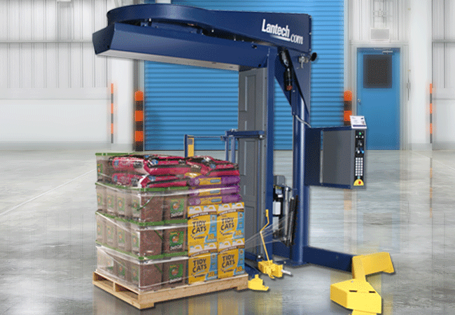 Lantech S300XT with pallet of stock stretch wrapped.